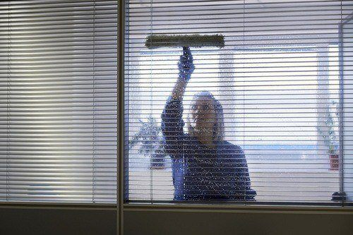 Woman cleaning office windows and surfaces thoroughly and professionally.