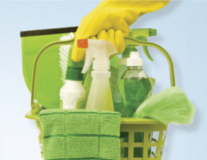 Green bucket with eco-friendly cleaning products used by our cleaners.