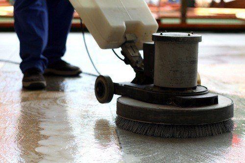 Floor cleaning machine closeup on a clean floor in New York City
