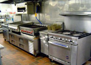 A commercial kitchen in a restaurant in Manhattan